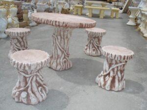 Mesa y taburetes de Tronco 85 cm diámetro